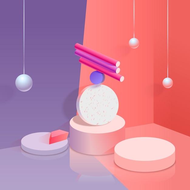 Красочный 3d дизайн фона Бесплатные векторы