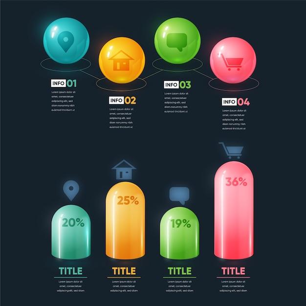 Цветная 3d глянцевая инфографика с деталями Бесплатные векторы