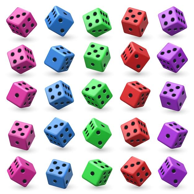 Игральные кости установлены. 3d куб с числами для настольной игры казино. Premium векторы