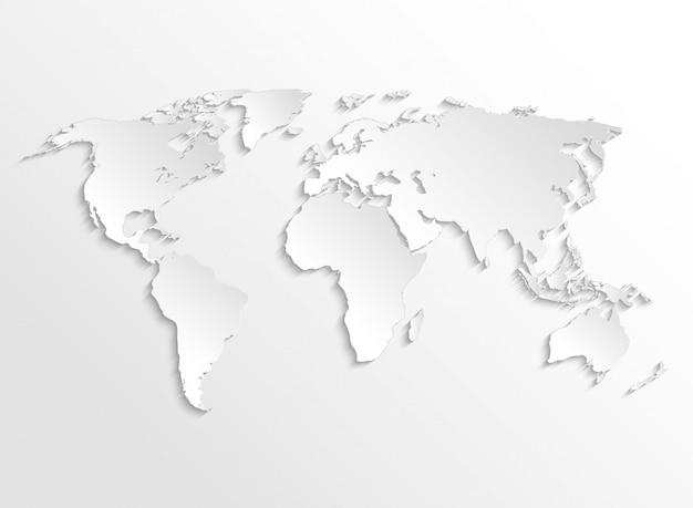 Белая бумага земля 3d карта. вектор шаблон для бизнес инфографики Premium векторы