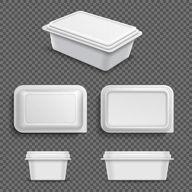 Белый пустой пластиковый пищевой контейнер для маргарина или масла. реалистичные 3d векторная иллюстрация Premium векторы