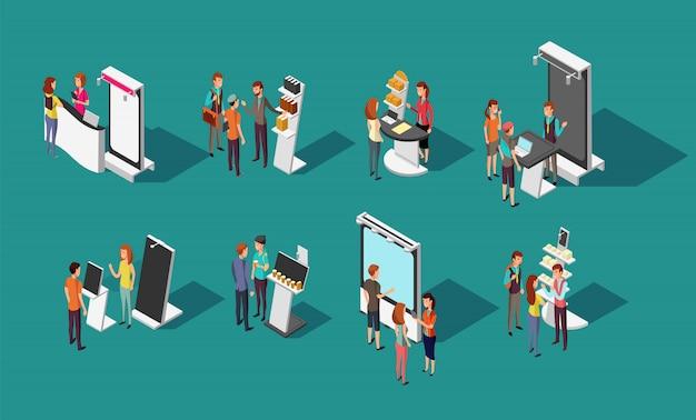 Люди, стоящие на выставочных рекламных стендах 3d изометрический набор Premium векторы