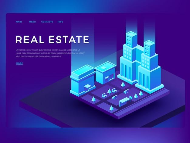Веб-шаблон целевой страницы для дизайна веб-сайта недвижимости с 3d изометрическими зданиями Premium векторы
