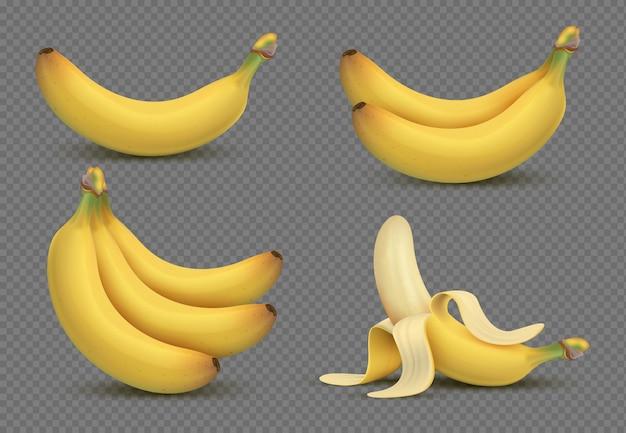 Реалистичные желтый банан, бананы гроздь 3d, изолированные на прозрачный Premium векторы