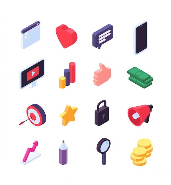 Социальный маркетинг изометрические иконки. медиа сообщение и поиск 3d знаки социальной сети. Premium векторы