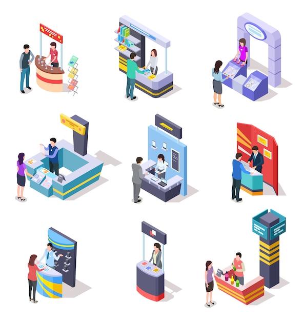 Изометрические выставочные стенды. выставочный демонстрационный стенд и торговые прилавки с людьми. 3d векторный набор Premium векторы