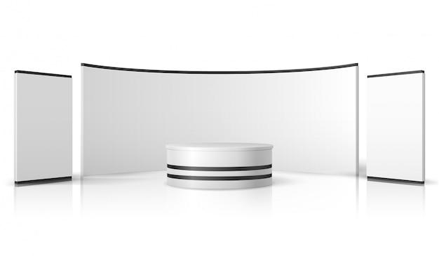 Пустой стенд выставки. белый пустой выставочный стенд, розничный рекламный дисплей вектор 3d макет Premium векторы