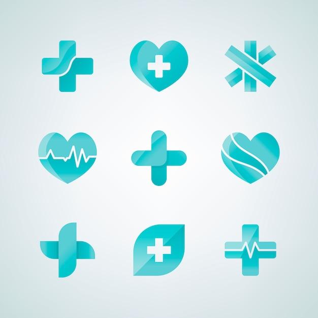 Набор медицинских значков 3d-дизайна Бесплатные векторы