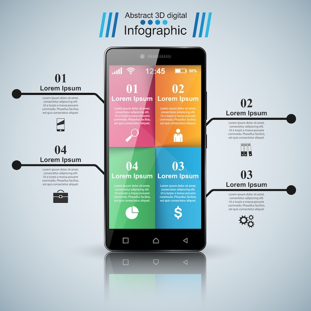 3dインフォグラフィック。スマートフォンアイコン。 Premiumベクター