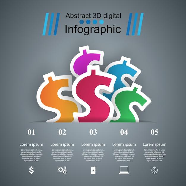3d-инфографический шаблон дизайна и маркетинговые иконки. значок доллара. деньги значок. Premium векторы