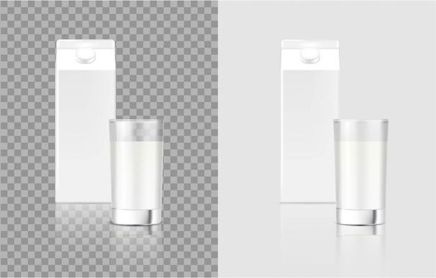 現実的なミルクカートンパックボックスとガラス食品と飲み物のパッケージングのための3dモックアップ Premiumベクター