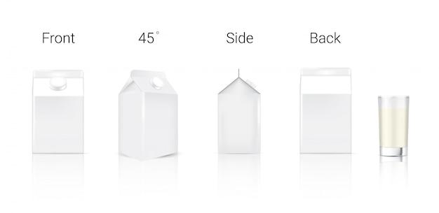 現実的なミルクカートンの3dモックアップパッケージ Premiumベクター