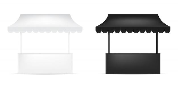3dモックアップ現実的な棚展示ブース展 Premiumベクター