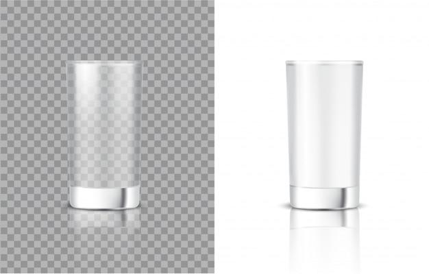 食べ物や飲み物のためのリアルな牛乳透明ガラスの3dモックアップ Premiumベクター