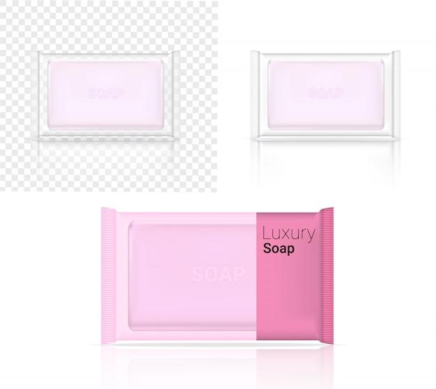 リアルなソープバー化粧品透明包装の3dモックアップ Premiumベクター