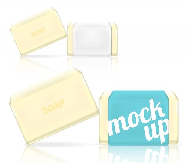 リアルなソープバー化粧品包装3dモックアップ Premiumベクター