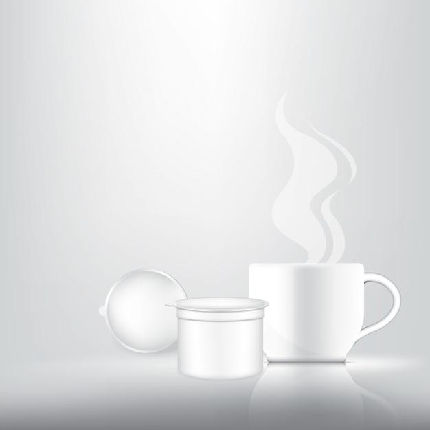 3dリアルなコーヒーカプセル Premiumベクター