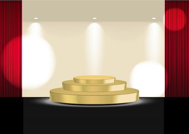 スポットライトを使用したショー、コンサート、プレゼンテーション用のゴールドステージまたは映画館の3dリアルなオープンレッドカーテン Premiumベクター