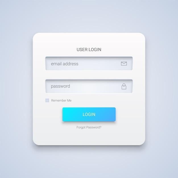 3dホワイトユーザーログインフォーム Premiumベクター