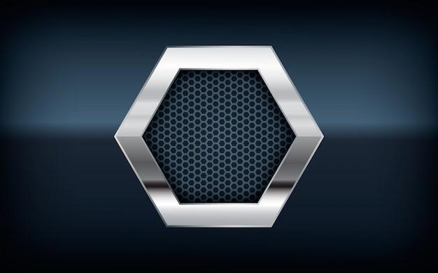 3d серебряный список шестиугольника на черном фоне Premium векторы