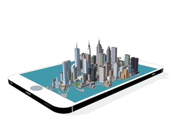 Вектор нью-йорк на телефоне 3d Premium векторы