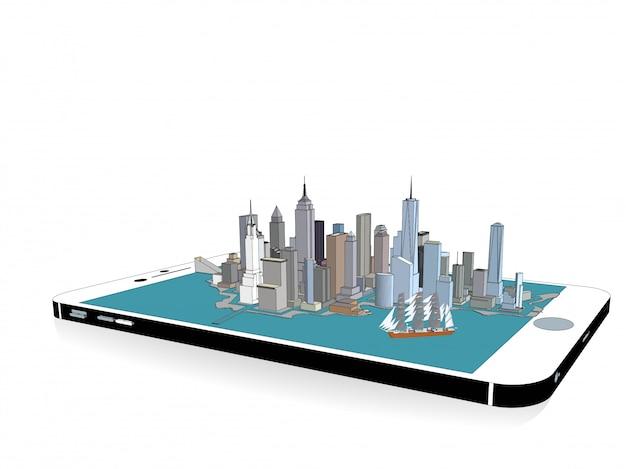 電話3dでベクトルニューヨーク市 Premiumベクター