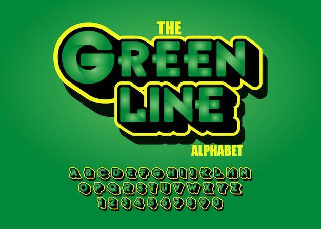 モダンな緑色のフォント効果3d。アルファベット Premiumベクター