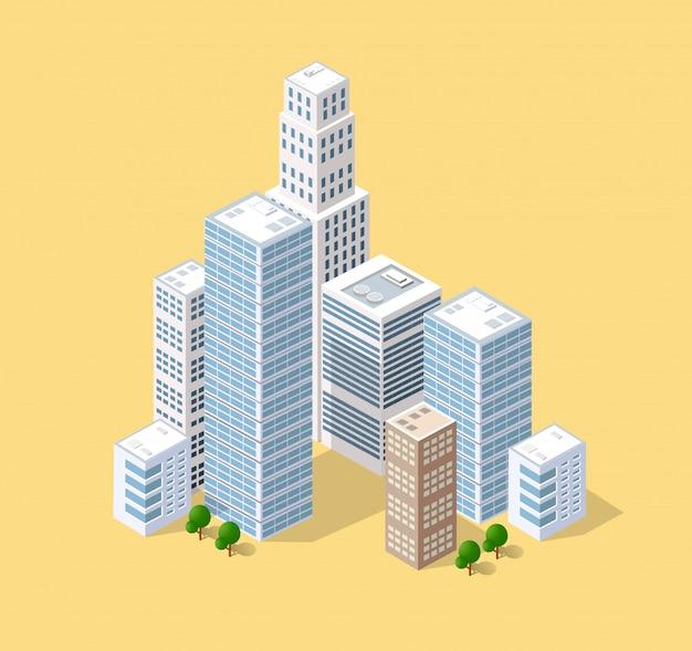 Изометрическая 3d город Premium векторы