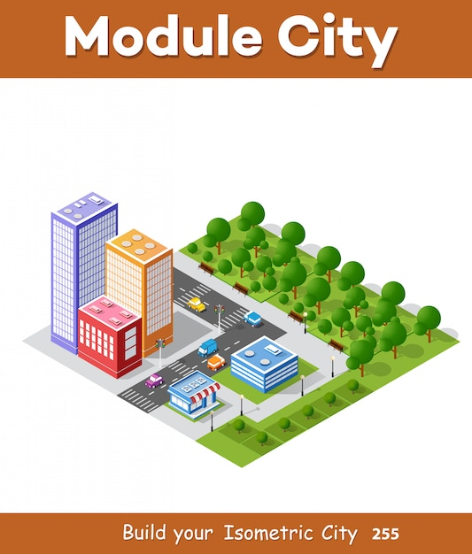Красочный 3d изометрический город Premium векторы