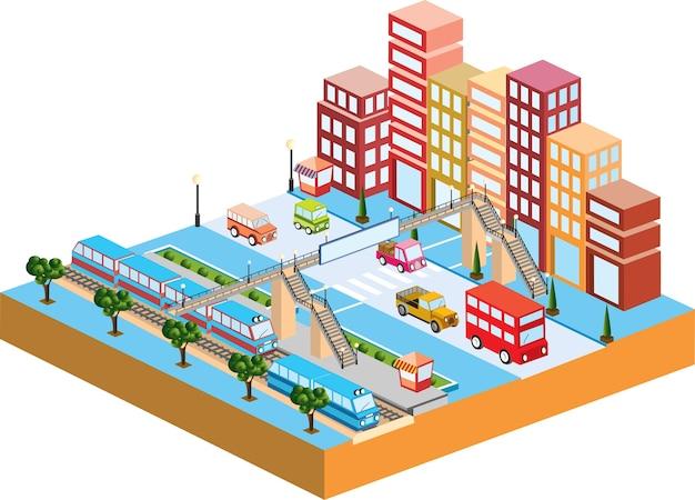 交通と建物のある3d都市 Premiumベクター