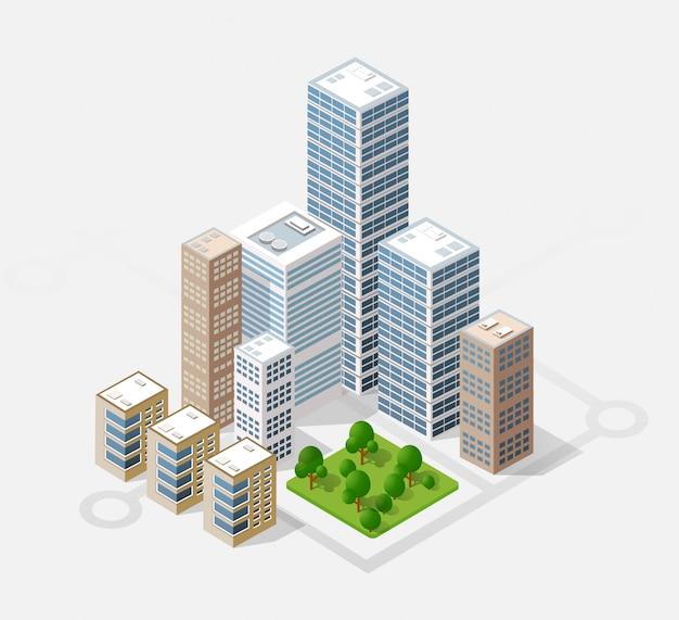 Изометрический 3d-город Premium векторы