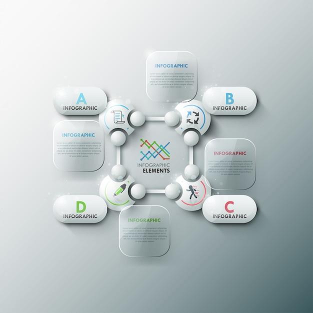 3dサークルを備えた最新のインフォグラフィックオプションバナー Premiumベクター