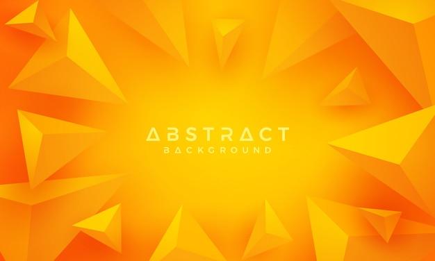 3dトライアングルオレンジと黄色の背景。 Premiumベクター