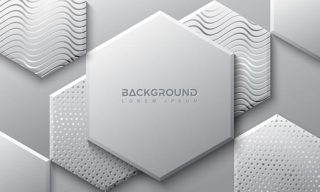 Шестиугольник серый фон с 3d-стиле. Premium векторы