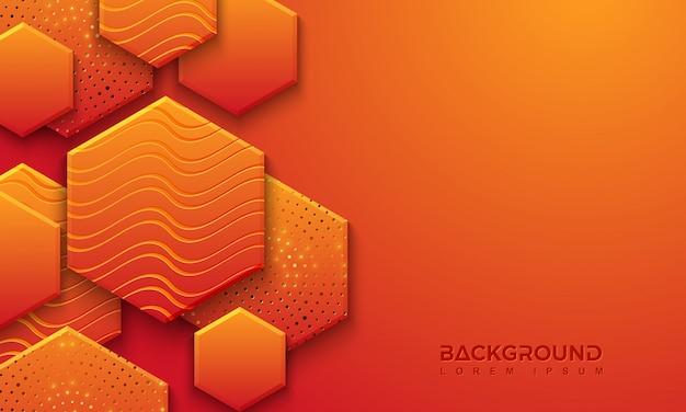 3dスタイルの織り目加工のオレンジ色の背景デザイン Premiumベクター