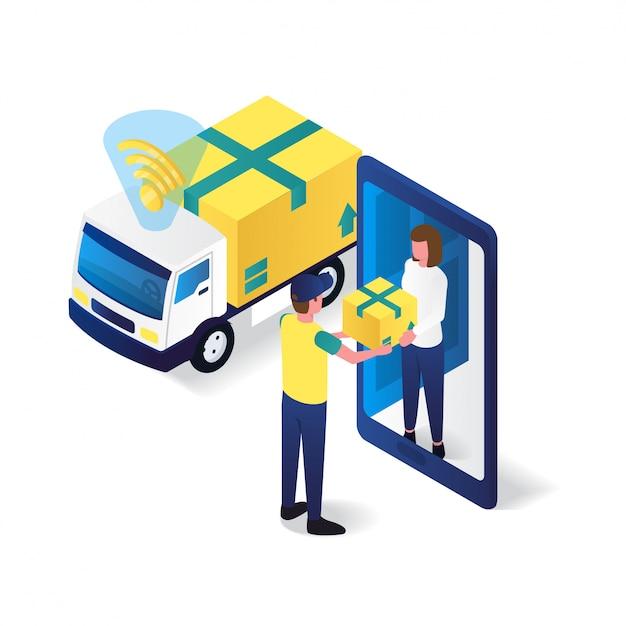 Почтальон в приемник служба доставки квартира 3d изометрическая иллюстрация Premium векторы