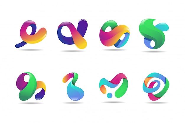 抽象的なカラフルなロゴ、3dモダンアイコンのコンセ Premiumベクター