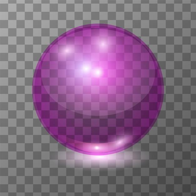 現実的なピンクの透明なガラス玉をベクトル、光のパッチで球またはスープの泡を輝きます。 3dイラスト Premiumベクター