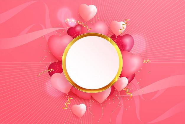 Прекрасный день святого валентина с 3d сердцами и золотым элементом Premium векторы
