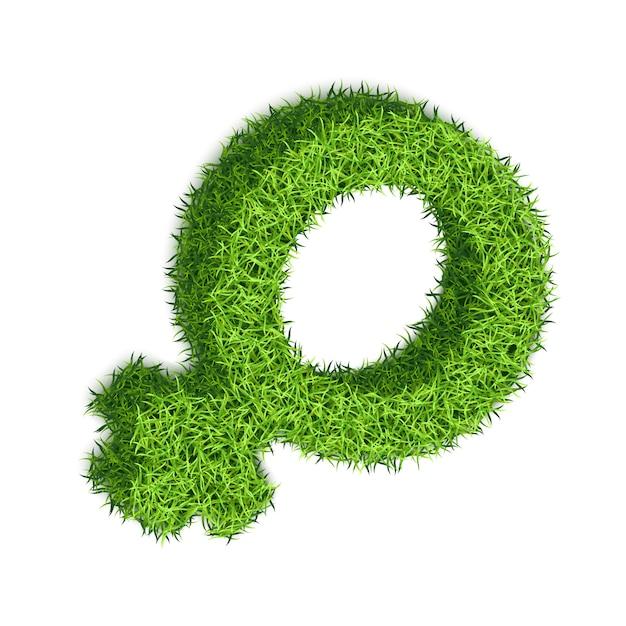 女性の性別のシンボルです。白い背景の上の織り目加工の草の3d描画。 Premiumベクター