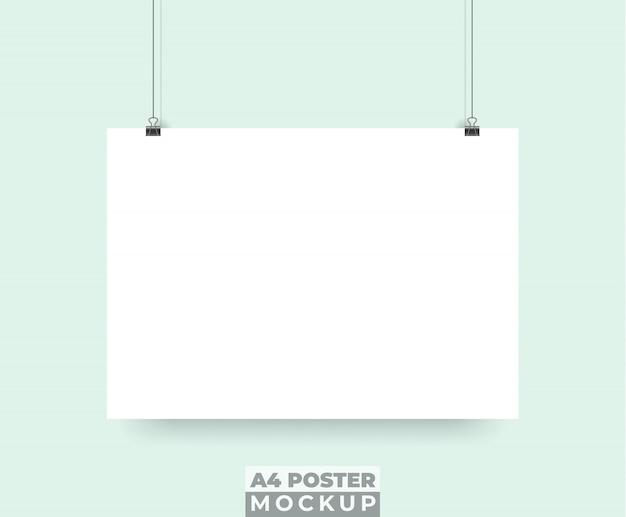 リアルな3dポスターモックアップをぶら下げ Premiumベクター