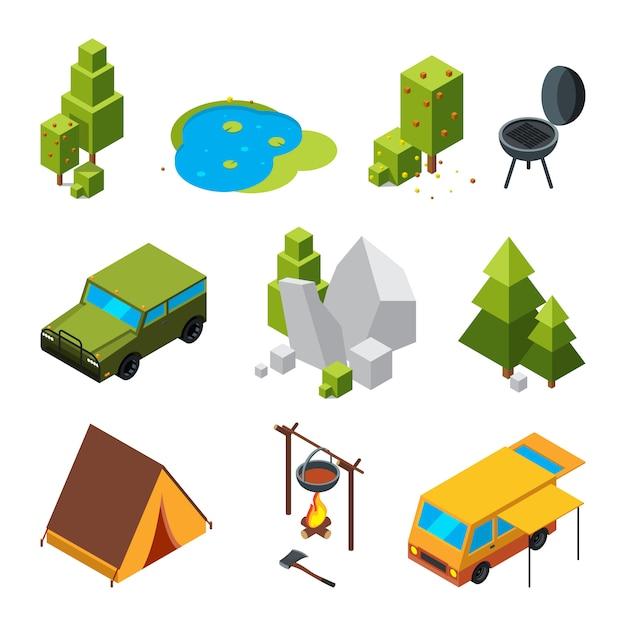 Изометрические фотографии кемпинга. сад, камни и камни, палатка. векторные 3d картинки Premium векторы