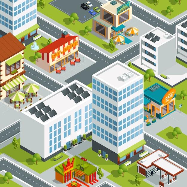 Городской пейзаж с ресторанами и кофейными домами. вектор здание города, городской изометрическая 3d карта иллюстрации Premium векторы