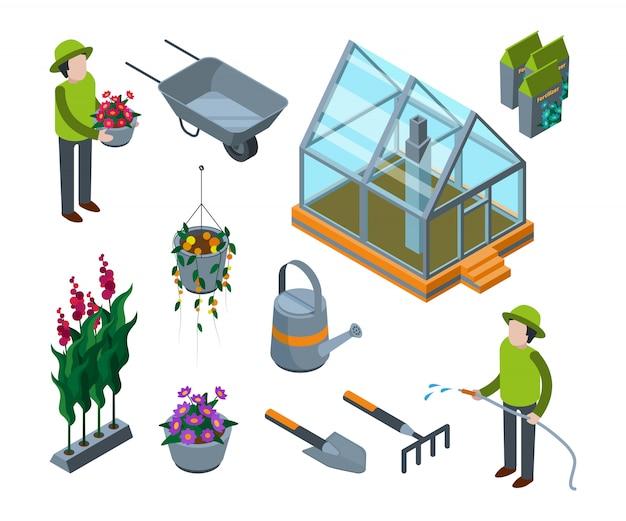 Тепличные цветы. сельскохозяйственный 3d стеклянный дом с растениями овощи фрукты деревья питомник изометрические с Premium векторы