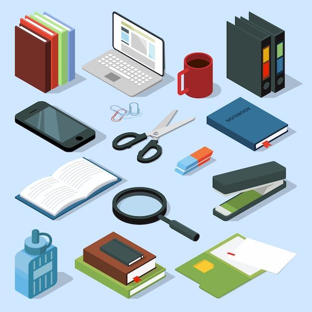 3d офисное оборудование изометрической набор. книги, папки, карандаши и другие канцтовары. Premium векторы