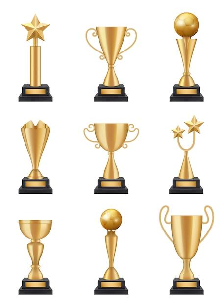 Золотой кубок реалистичный. изолированные иллюстрации медалей трофеев спортивного соревнования 3d выигрывая Premium векторы