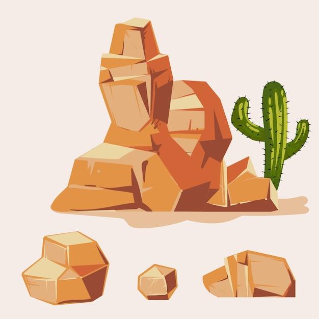 Набор пустынных скал. мультфильм изометрическая 3d плоский стиль. набор разных валунов Premium векторы