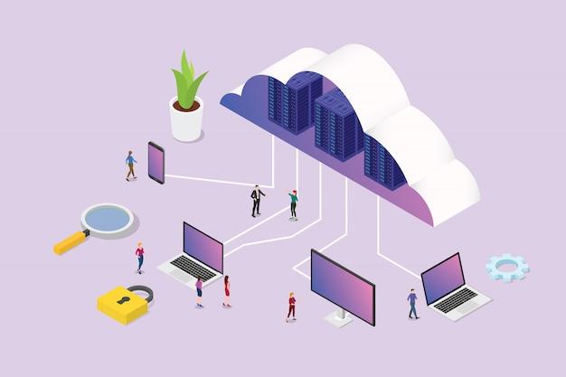 Изометрическая 3d концепция облачных вычислений с командой людей и различных медиа-платформ Premium векторы
