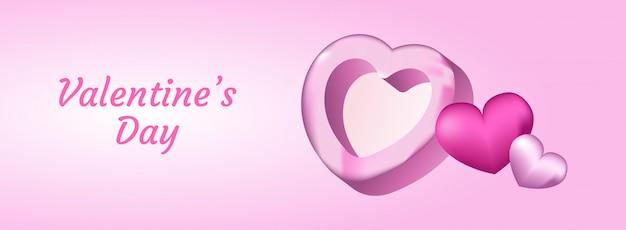 С днем святого валентина с реалистичной 3d иллюстрации сердца. Premium векторы