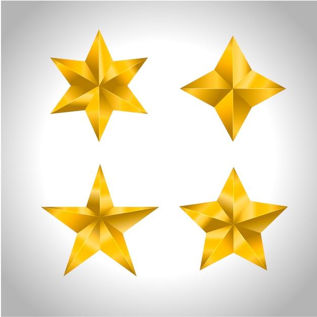 Звезда реалистично металлик золотой изолированный желтый 3d рождество Premium векторы